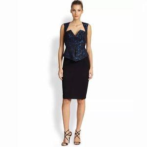 Black Halo Brocade Gabardine Peplum Shift Dress